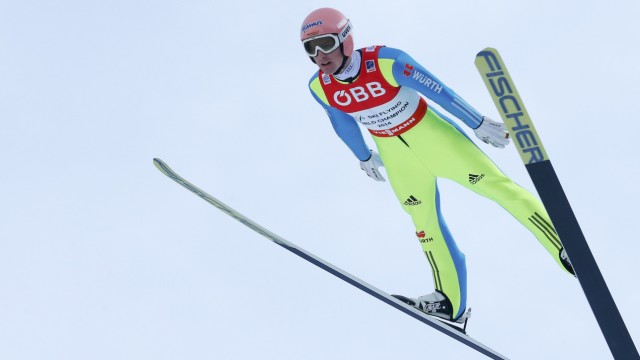 Freund of Germany competes during the first round of the Ski Flying World Championships at Kulm hill in Bad Mitterndorf