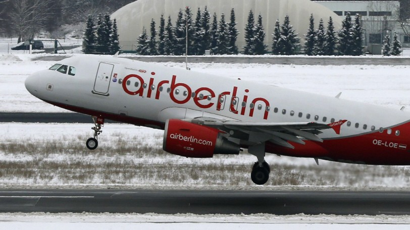 Air Berlin aircrafts are pictured on the tarmac at Tegel airport in Berlin