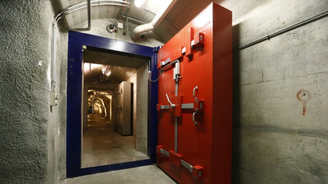 Two heavy doors protect a tunnel inside a former Swiss mlitary command bunker near Attinghausen