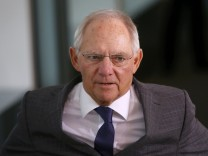 German Minister of Finance Schauble arrives for the weekly cabinet meeting at the Chancellery in Berlin