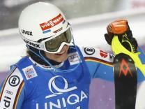 Willibald of Germany reacts following the women's Alpine Skiing World Cup slalom race in Flachau