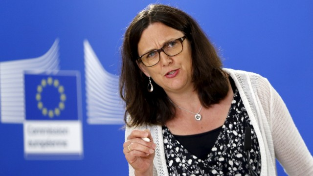 EU Trade Commissioner Malmstrom addresses a news conference in Brussels