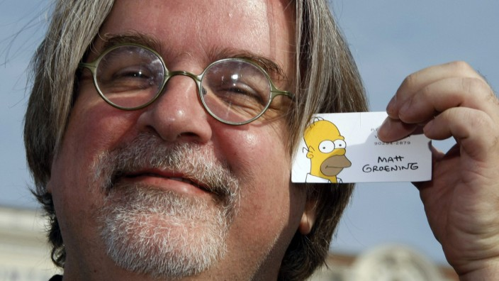 Matt Groening, creator and executive producer of the animated series 'The Simpsons', poses at the annual MIPCOM television programme market in Cannes