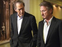 Handout of CBS News '60 Minutes' host Charlie Rose talking with actor and director Sean Penn  in Santa Monica