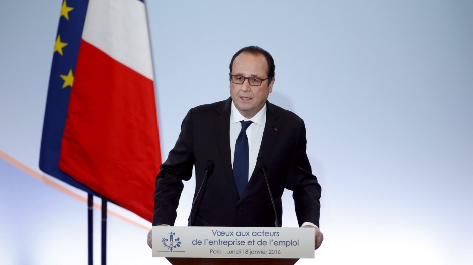 Hollande's new year wishes to Employment and Unions forces