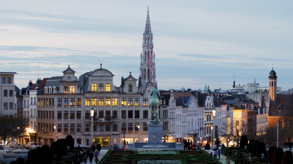 The city hall on Brussels' Grand Place (back C) is pictured from Mont des Arts