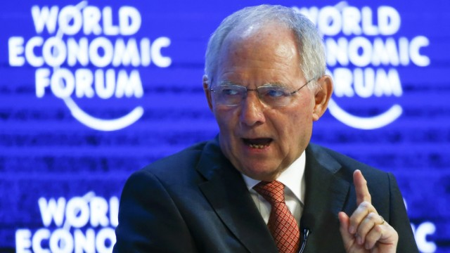 German Finance Minister Schaeuble gestures during the session 'The Future of Europe' at the annual meeting of the World Economic Forum (WEF) in Davos