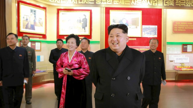 North Korean leader Kim smiles during a visit to the newly built Youth Movement Museum in this undated photo released by North Korea's KCNA in Pyongyang