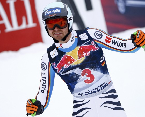Sander of Germany reacts after competing in the men's Alpine Skiing World Cup downhill race in Kitzbuehel