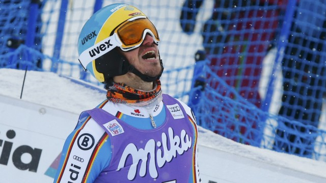 Neureuther of Germany reacts in the finish of the men's Alpine Skiing World Cup slalom in Wengen