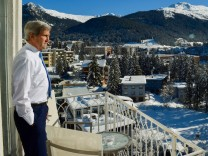 Jan 22 2016 Davos Switzerland US Secretary of State John Kerry looks out at the Alps before h