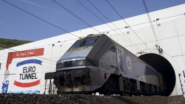 File photo of a Eurotunnel train exiting the Channel tunnel in Coquelles, near Calais