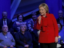 U.S. Democratic presidential candidate Hillary Clinton speaks at the Iowa Democratic Presidential Town Hall Forum in Des Moines