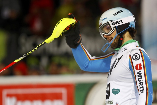 Stehle of Germany reacts after competing in the men's Alpine Skiing World Cup slalom in Schladming