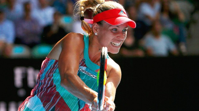 Germany's Kerber hits a shot during her semi-final match against Britain's Konta at the Australian Open tennis tournament at Melbourne Park