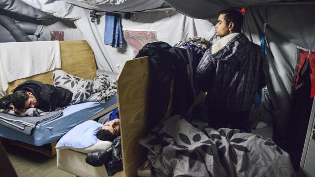 Asylsuchende in einem dänischen Flüchtlingslager in Thisted, Nordjylland.