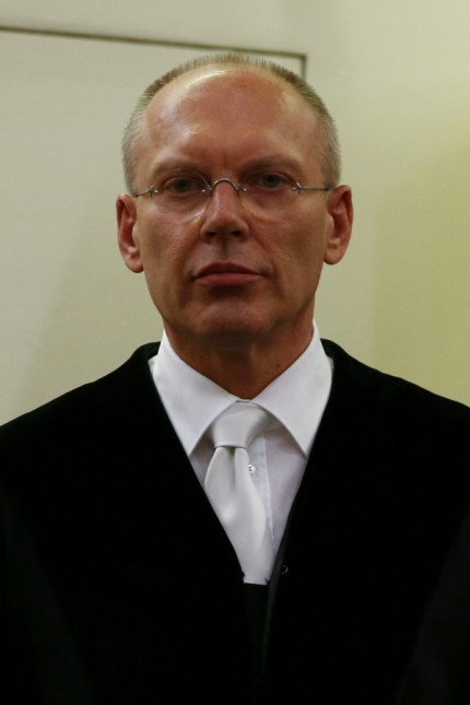 Chief Judge Goetzl stands in the court before the start of the trial of Zschaepe, a member of the neo-Nazi group National Socialist Underground (NSU), in Munich