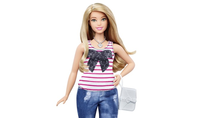 Handout of a combination of photos from Mattel showing the new curvy Barbie doll body shape alongside the traditional Barbie