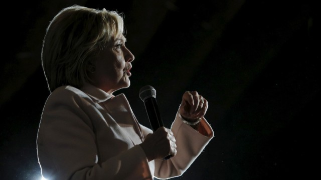 U.S. Democratic presidential candidate Hillary Clinton speaks at a campaign stop at the Col Ballroom in Davenport, Iowa