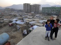 Internally displaced persons temporary shelters in Kabul