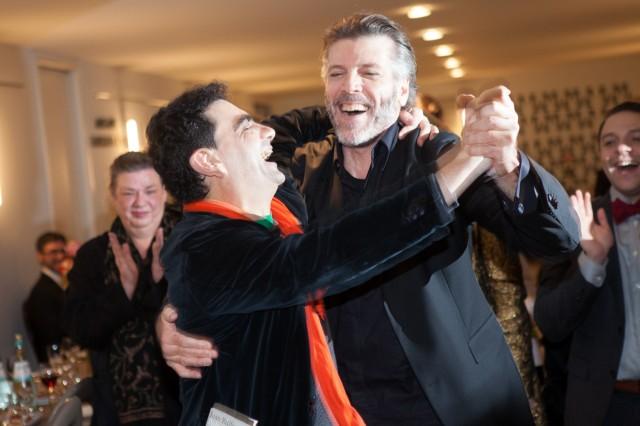Premiere, Uraufführung: South Pole. Premierenfeier: Thomas Hampson (rechts) und Rolando Villazón