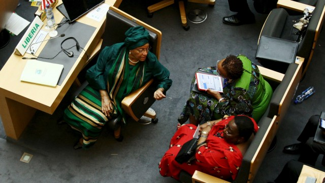 Liberia's President Ellen Johnson Sirleaf talks to delegates during the 26th Ordinary Session of the Assembly of the African Union at the AU headquarters in Ethiopia's capital Addis Ababa