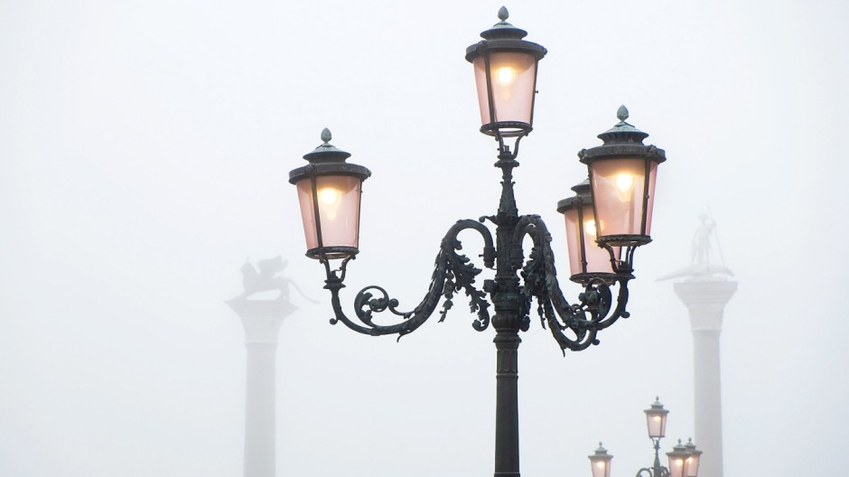 First Fog Of Autumn Rise In Venice