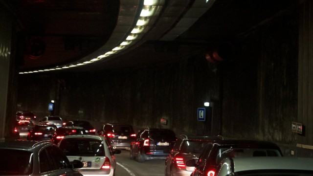 BRUSSELS BELGIUM Cars queue in the Leopold II tunnel on Thursday 28 January 2016 in Brussels