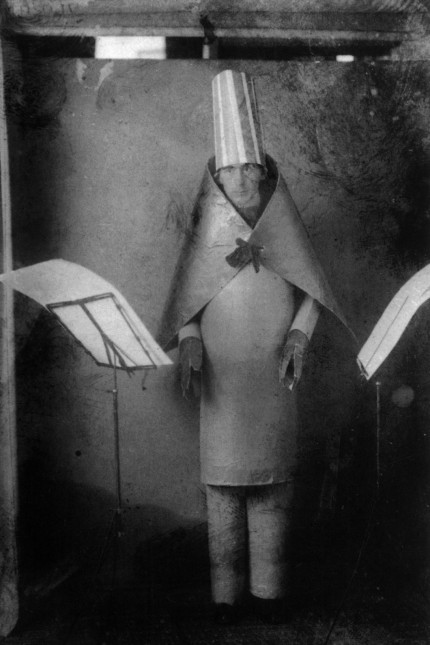 Hugo Ball (1886-1927) Dadaist writer and poet, here wearing a cubist suit made by himself and MarcelJanco for reciting of his poems at cabaret Voltaire, Zurich, june 23, 1916