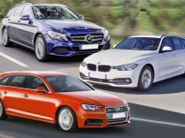 Collage Mercedes C-Klasse T-Modell, Audi A4 Avant und BMW 3er Touring