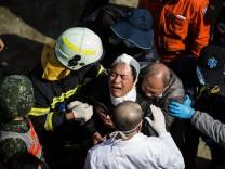 Überlebender des Erdbebens in Taiwan