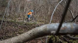 Mountainbiker im Isartal bei Pullach, 2015