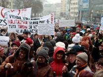 160125 BRATISLAVA Jan 25 2016 Teachers participate in a protest in Bratislava Slovakia