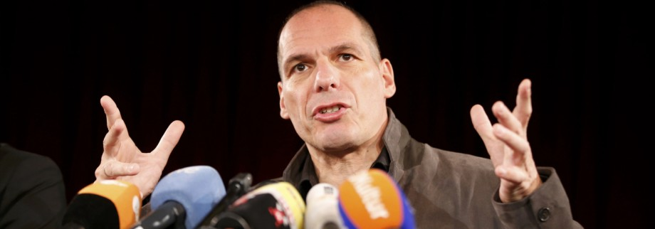 Greece's former Finance Minister Varoufakis addresses a news conference in Berlin
