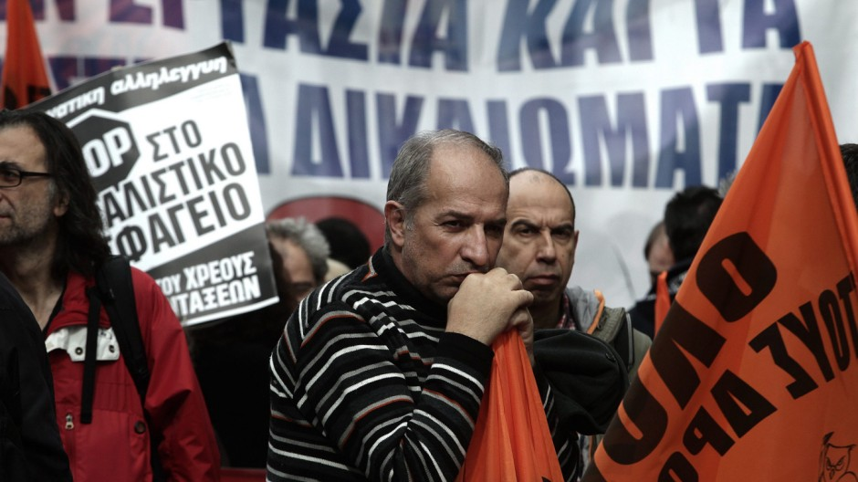 Demonstration during general strike in Athens