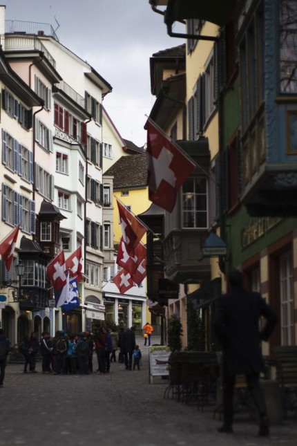 People walk in the old town of Zurich