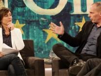 Zu Gast bei Sandra Maischberger (links): Yanis Varoufakis (ehemaliger griechischer Finanzminister).