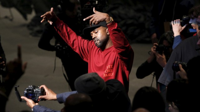 Kanye West dances during his Yeezy Season 3 Collection presentation and listening party during New York Fashion Week