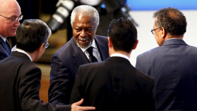 Former United Nations Secretary General Kofi Annan arrives at the Munich Security Conference in Munich