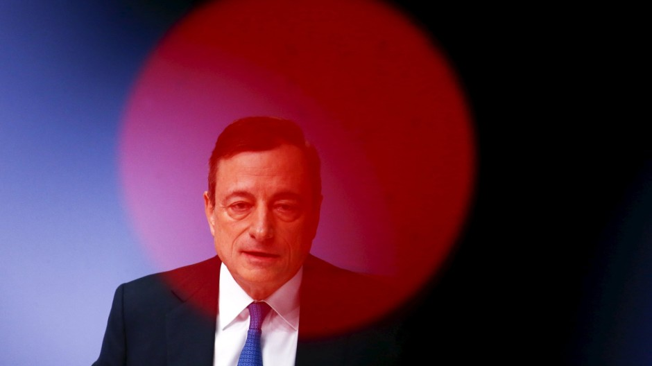 File photo of European Central Bank President Mario Draghi addressing ECB news conference in Frankfurt