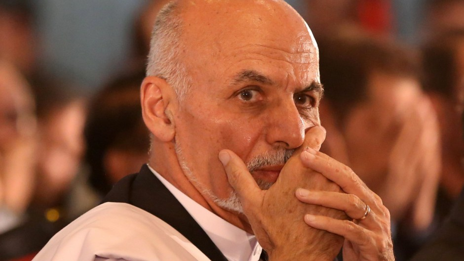 Afghan president-elect Ashraf Ghani Ahmadzai is seen before speaking at an event in Kabul
