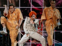 Lady Gaga performs a medley of David Bowie songs as a tribute to the late singer during the 58th Grammy Awards in Los Angeles