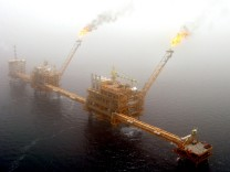 File photo of gas flaring from an oil production platform at the Soroush oil fields.