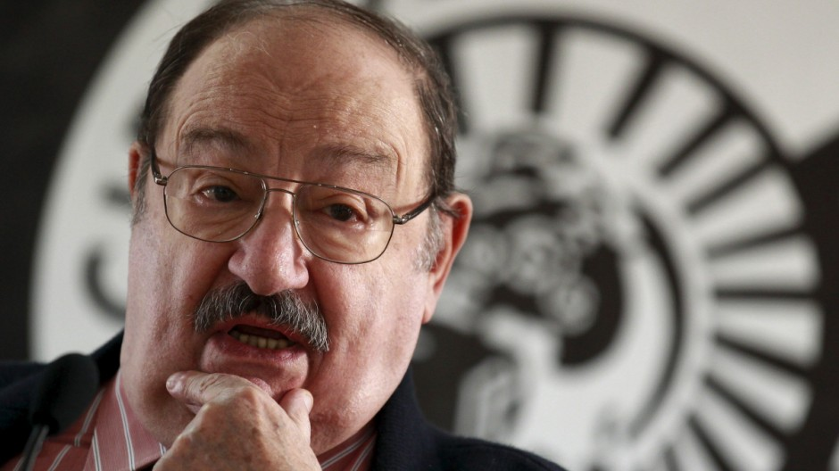 File picture of Italian writer Umberto Eco at the presentation of his novel 'The Cemetery of Prague' in Madrid