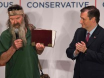 "Ted Cruz und Phil Robertson (""Duck Dynasty"") in South Carolina"