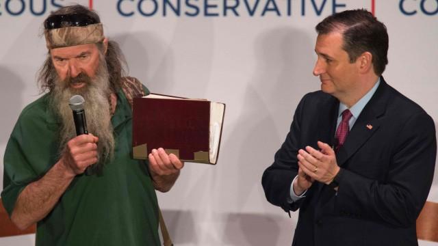 "Ted Cruz und Phil Robertson (""Duck Dynasty"") in South Carolina"