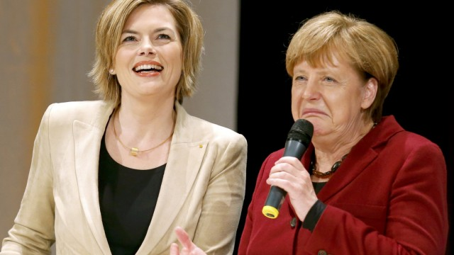 German Chancellor Merkel and leader of the CDU in the state of Rhineland-Palatinate Kloeckner attend CDU state election campaign rally in Landau