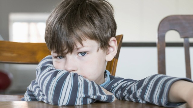 Portrait of boy leaning on wooden table mit_2002_03147