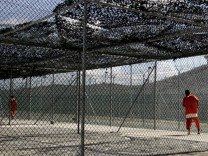 File photo of detainees at Camp Delta at the U.S. Naval Base Guantanamo Bay, Cuba exercising in Camp 3