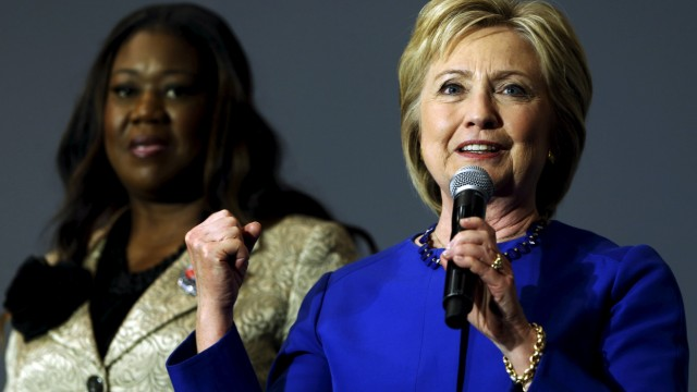 Clinton gives remarks after being endorsed by Fulton and other families of gun violence victims during a town hall meeting at Central Baptist Church in Columbia, South Carolina